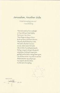 Jane Yolen Signed Limited Edition Poetry Broadside of 'Jerusalem, Another Side'