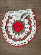 """Vintage 12"""" 3D Rose Doily Poinsettia Red White Green Flat Side Mantle"""