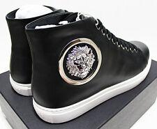 $350 VERSACE VERSUS Lion Medallion Badge Black Leather Mid Sneakers 43-EU 10-US