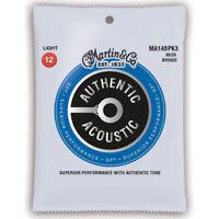 3 Pack Martin m140 MA140PK3 Light Acoustic Guitar Strings 80/20 Bronze 12 - 54