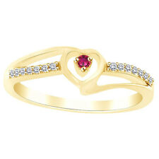 Round Cut Pink Sapphire & Cubic Zirconia Heart Promise Ring 14K Yellow Gold Over