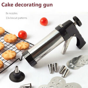 Biscuit Maker Shaper Cake Cutter Cookie Press Pump Machine Stainless Steel Kits-