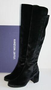 $765 STUART WEITZMAN ALLJACK OTK Black Velvet BOOTS 40 / 10 Over the Knee