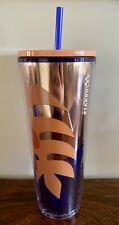 NEW STARBUCKS 24OZ TUMBLER METALLIC ROSE GOLD BLUE TROPICAL PALM LEAVES SOLD OUT