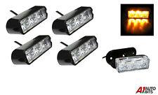 4x Amber 3 LED Car Truck Emergency Beacon Lights Hazard Flash Strobe Bar Warning