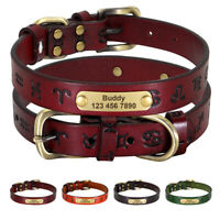 Genuine Leather Personalized Dog Collars ID Name Tags Engraved Heavy Duty XS-2XL