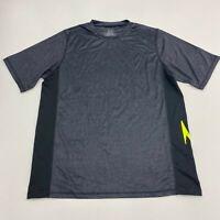 Speedo Athletic Shirt Men's 2XL XXL Short Sleeve Gray Black Crew Neck Polyester