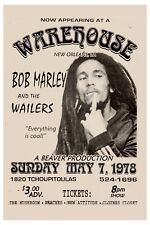 Bob Marley & Wailers at a Warehouse in New Orleans Concert Poster 1978   12x18