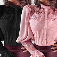 Mode Femme Mignon Chemise Haut Manche Longue Couture de Dentelle Bohème Plus