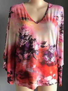 COMFORT by VOK Floral Multi Colour Kimono Sleeve Kimono Top Plus Sizes 18,20,22