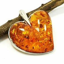 """NATURAL BALTIC AMBER GEMSTONE SILVER PLATED PENDANT JEWELRY 2.3"""" #SGJPDT1002"""