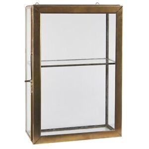 Brass Wall Hanging Storage Glass Cabinet With 1 Glass Shelf & Glass Door by I...
