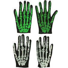 HALLOWEEN SKELETON GLOVES GREEN OR WHITE HALLOWEEN FANCY DRESS ACCESSORY OUTFIT