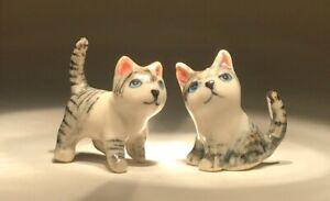 TWO Dollhouse Miniatures Porcelain Ceramic Cats Kittens Figurines Mini Tiny