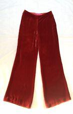 Designer Emmanuel Ungaro Red Devore Silk VELVET Wide Trousers / Pants Fr36 UK 8