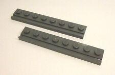 2 x LEGO® 4510 Platte 1x8 mit Führung Schiene neudunkelgrau neu.