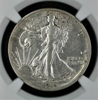 1916 Walking Liberty Silver Half Dollar NGC AU Details Improperly Cleaned