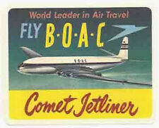 "BOAC   ""Comet Jetliner""   Vintage-Looking   Airline  Sticker/Decal/Luggage Label"