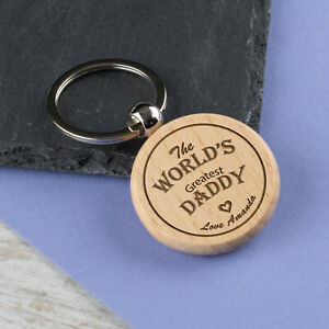 Personalised Keyring Wooden Key fobs Laser Engraved Keychain Key Tags Labels
