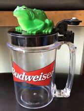 Budweiser Talking Frog Beer Mug Sound on Flip Cup Stein Drink Toad 1996 - Works!