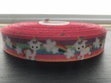 "1m Unicorn Rainbow Multi Stripe Clouds 22mm 7/8"" Grosgrain Ribbon Craft Cake"