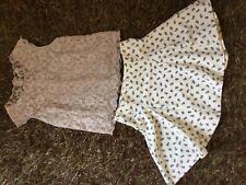 Precioso Topshop Crema Con Paneles Falda con poco Flores y blusa de encaje Talla 8