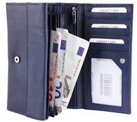 Damen-Geldbörse 17 x 10 cm Blau Leder Portemonnaie D-495069530007695