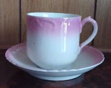 Vintage Pink and White Lusterware Porcelain Tea Cup and Saucer Demitasse