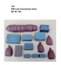 1/35 WWII Resina 14 piezas estiba ammunition bags sand backpacks value tanque