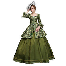 Victorian Vintage Women Dress Prince Medieval Renaissance Ball Green Costumes