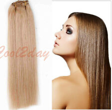 """New  100% Full Head Clip In Remy Human Hair Extensions 15"""" 18"""" 20"""" 70g Hair Weft"""