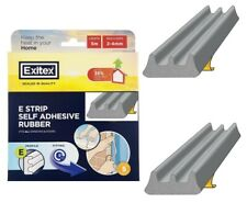 5m Exitex Grey E Strip Self Adhesive Rubber Draught Excluder Heat Saver Seal Gap