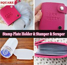 BORN PRETTY Nail Stamping Plates Holder Case & Clear Stamper Scraper