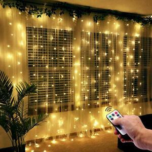 3Mx3M 300LED Curtain Fairy String Light Garden Chrismas Party Lamp Twinkle Light