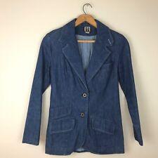 Vintage 1970s Denim Jacket Blazer Mushroom Blue 100% Cotton Women's Fitted M