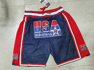 Hot sale New Dream Team Men's Pocket Blue Basketball Shorts Size: S-XXL