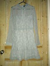 Yonis VTG Lace Crochet Blue Y2K Mini Dress UK 10 Skater, Gypsy, Fairy, Boho