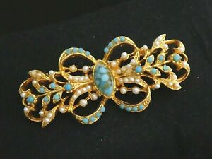 BEAUTIFUL Gold Faux Turquoise Glass Cabochon & Faux Pearl Ornate Bow Bar BROOCH