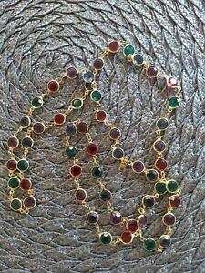 Vintage SWAROVSKI Swan Logo Multi-Color Bezel Set Crystal Necklace 36 Inch