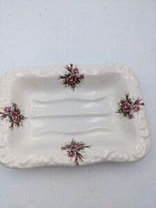 Pretty Vintage Athena VB Scalloped Rectangle Porcelain Rose Soap Dish Excellent!