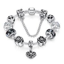 925 Silber Armband 20 cm Schwarz Bead Bettelarmband Charms Liebe 11 Stück in 1