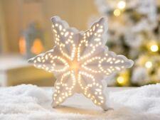 Led Rialzo Stelle Emilia Porcellana Bianca Luce 16 cm Natale Oggetto Decorativo