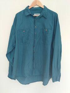 Liberty Teal Blue Vintage Silk Long Sleeve Button Up Shirt Size XXL