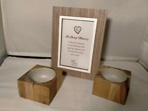 Wood Crafted Gatto Photo Frame & Ecology Candle Holders 3 Pc. Set –  (WC2108)