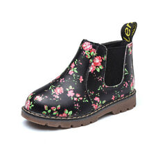AU Child Kids Girls Ankle Boots Floral Flower Print Boot Party Shoes Size