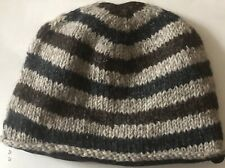 Hand Knitted Skull Hat Cap 100 % Wool With Fleece Lining