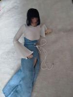 """1:6 Scale Figure White Shirt & Denim Skirt For 12"""" Phicen Female Body Doll Toy"""