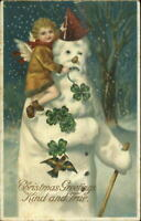 Christmas - Cherub on Santa Claus Snowman c1910 Postcard - Clapsaddle???