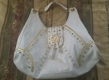 Signature BABY PHAT White w/ Gold Trim LARGE Overnight / Hand Bag