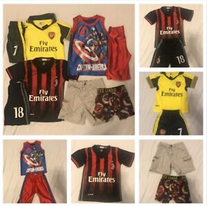 Lot Of Boy Clothes Outfits Size 4 Marvel  Soccer Set New